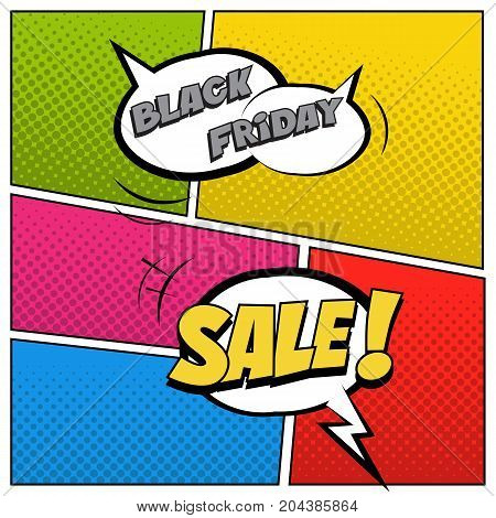 Speech bubbles with Black Friday Sale text on colored halftone background. Black Friday Sale illustration in comic book style.