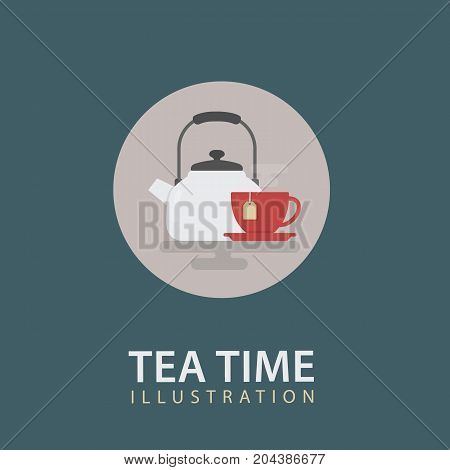 Tea Time Icon Illustration. White Kettle and Red Cup Of Tea