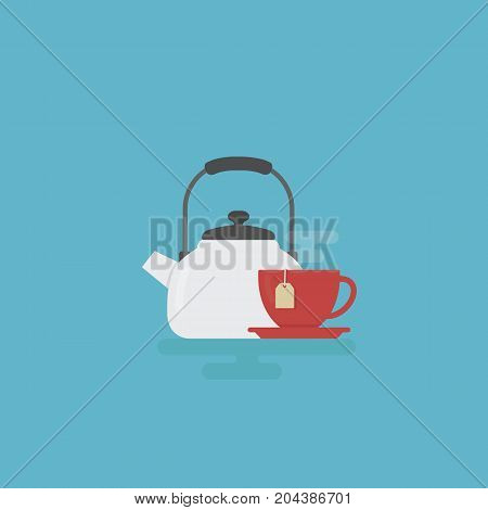 Tea Time Illustration. White Kettle and Red Cup Of Tea