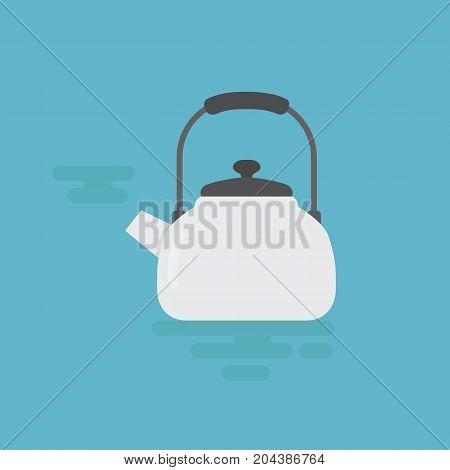Flat Design of White Kettle Illustration. Kettle With Steam