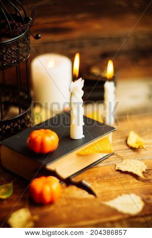 Background on the topic of Halloween and autumn: the black book, pumpkins, leaves, bats and burning wax candles on wooden background
