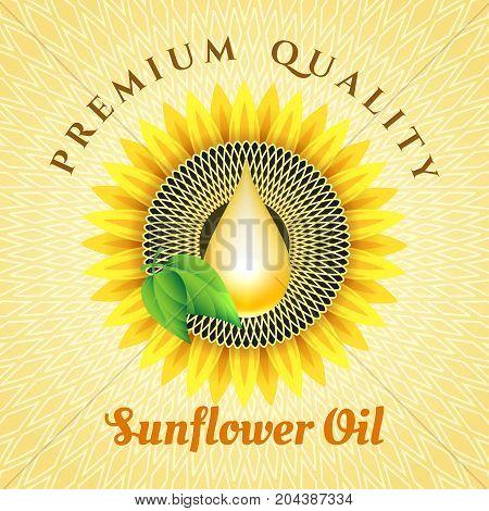 Sunflower oil vector label. Vegetable field refined sunflowers oil banner