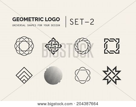 Set of universal minimal geometric logo. Simple vector sign will give a recognizable accent to your startup