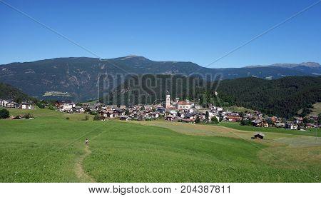 Picturesque alpine village of Kastelruth, Trentino Alto Adige region of of Italy