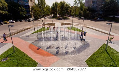 Vinnytsia Ukraine - September 01 2017: Fountain on the prospectus of astronauts. Aerial view.