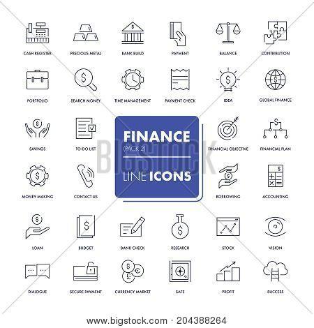 Line icons set. Finance pack. Vector illustration.