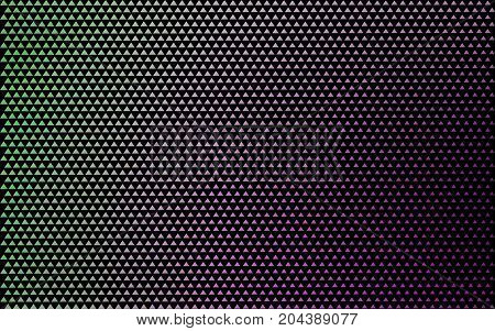 banner triangles colored mosaic. poster black color background pattern. multicolored grunge texture. halftone effect. dark vector illustration