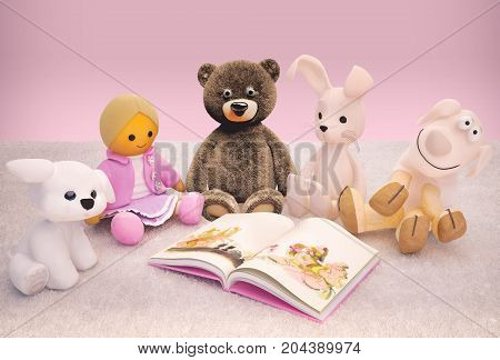Children education and development happy childhood. Baby toys and interesting book located on the carpet. 3D illustration