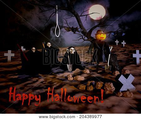 Happy Halloween with death and cemetery. Halloween greeting and invitation card poster banner decoration element. Midnight cemetery with death reaper skeleton in robe and zombie hand stretching to moon. 3D illustration