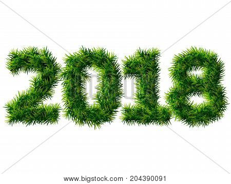 New Year 2018 of christmas tree branches isolated on white. Empty pine twigs in shape of number 2018