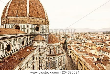 Cathedral Santa Maria del Fiore in Florence Tuscany Italy. Cradle of the renaissance. Travel destination. Yellow photo filter.
