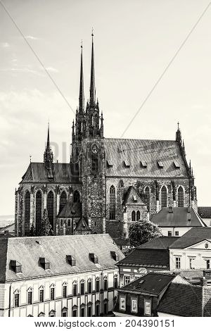 Cathedral of St. Peter and Paul Brno Moravia Czech republic. Religious architecture. Travel destination. Black and white photo.