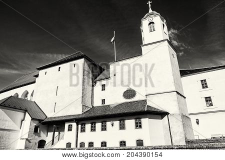 Spilberk castle is a castle on the hilltop in Brno southern Moravia Czech republic. Architectural scene. Travel destination. Black and white photo.