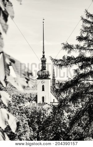 Church of St. James in Brno Moravia Czech republic. Religious architecture. Travel destination. Black and white photo.