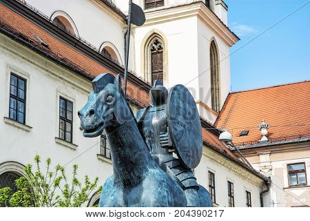Equestrian statue of margrave Jobst of Luxembourg and Church of St. Thomas Brno Moravia Czech republic.