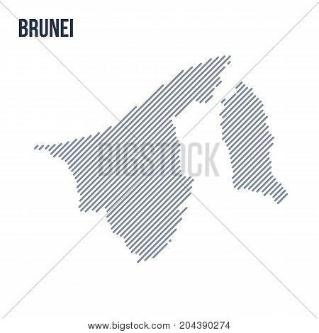 Vector Abstract Hatched Map Of Brunei With Oblique Lines Isolated On A White Background.