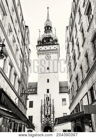 Old town hall in Brno southern Moravia Czech republic. Architectural scene. Black and white photo. Travel destination.