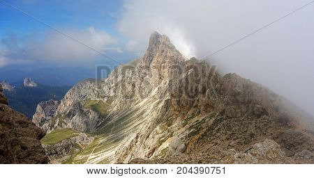 Cima di Terrarossa mountain summit and Via Ferrata Maximilian as seen from Alpe di Tires mountain hut and Alpe di Tires mountain pass, Dolomites, Italy