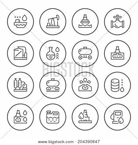 Set round line icons of oil industry isolated on white. Vector illustration