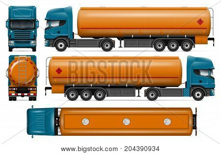 Truck with fuel tank vector mock-up for car branding and advertising. Petrol tanker truck on white. Elements of corporate identity. All layers and groups well organized for easy editing and recolor.