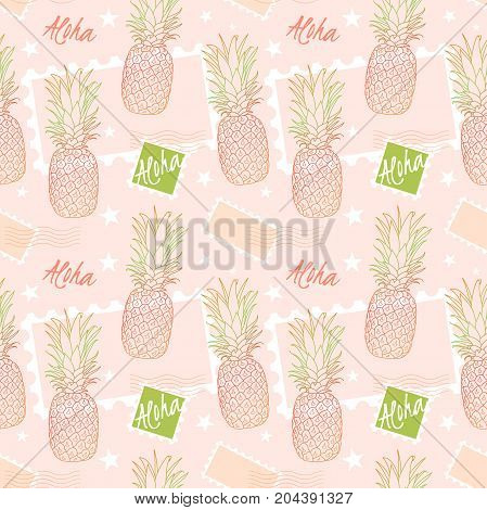Pineapple and postage stamps, seamless pattern on a sorbet pink background. Aloha means Hello in Hawaii. Fruit delivery vector illustration.