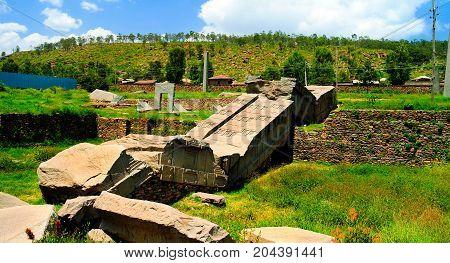 Tombstones aka Axum steles at Tigray northern Ethiopia