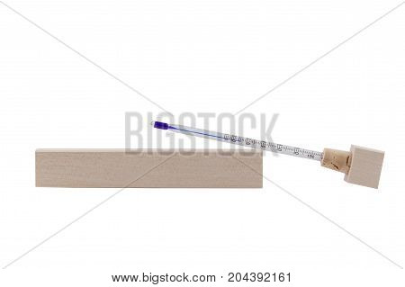 Thermometer for measuring tea temperature. Thermometer for teapots with case isolated on a white background.