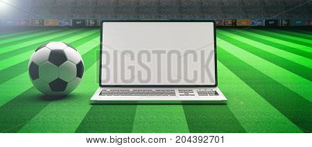 Soccer Football Ball And A Laptop On A Field Background. 3D Illustration