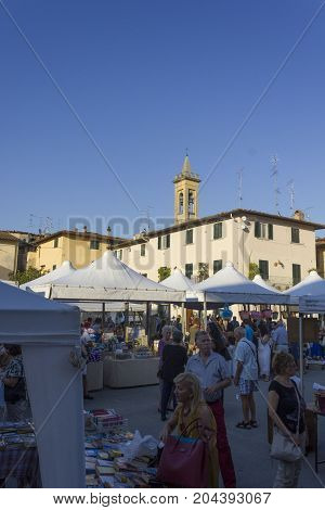 LASTRA A SIGNA, ITALY - AUGUSt 30 2015: Central square of Lastra a signa municipality i uscany during the town festival in the summer Italy