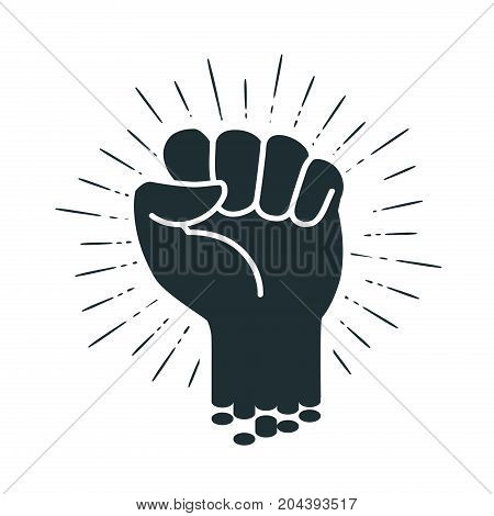 Male clenched fist, logo or label. Power, force, strength icon. Vector illustration isolated on white background