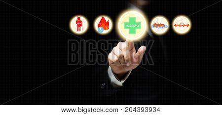 Businessman Choosing Insurance Mark. Insurance Concept.