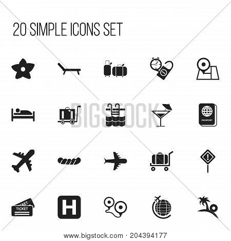 Set Of 20 Editable Holiday Icons. Includes Symbols Such As Rest Time, Basin, Cart And More