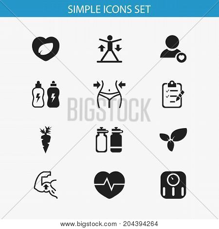 Set Of 12 Editable Training Icons. Includes Symbols Such As Slimming, Scales, Fitness Drink And More