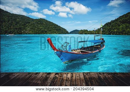 Tourist Long Tail Boat On The Sea At Surin Island, Thailand