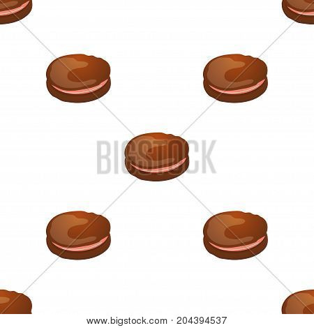 Seamless pattern with chocolate macaroon on white. Vector illustration