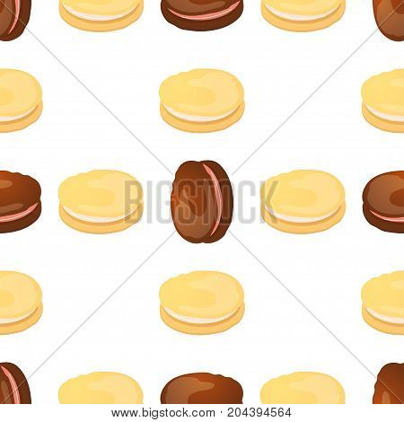 Seamless pattern with colorful macaroon on white. Vector illustration.
