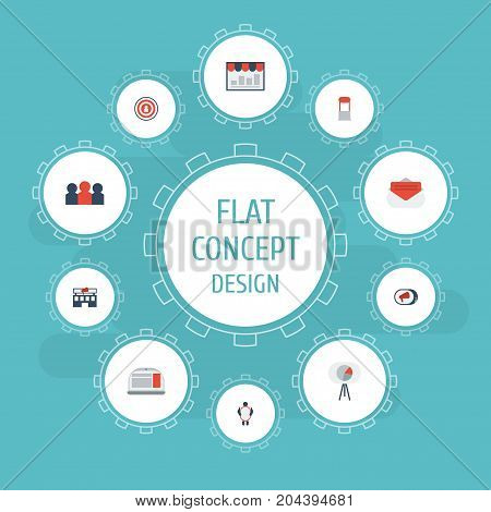 Flat Icons Laptop, Auditorium, Message And Other Vector Elements