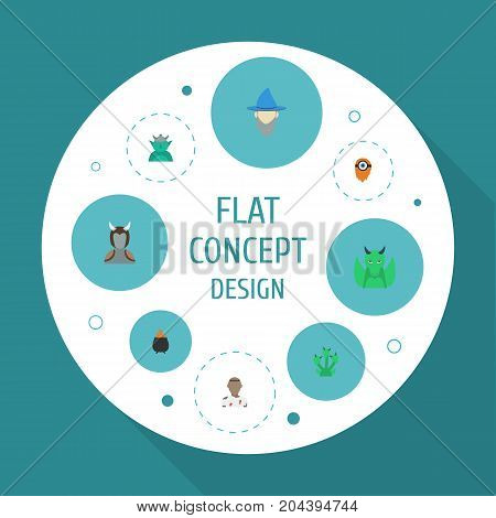 Flat Icons Dinosaur, Monster, Wizard And Other Vector Elements