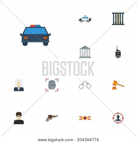 Flat Icons Jail, Building, Walkie-Talkie And Other Vector Elements