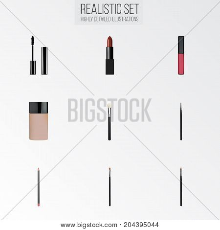 Realistic Mouth Pen, Liquid Lipstick, Pomade And Other Vector Elements