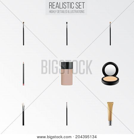 Realistic Brow Makeup Tool, Mouth Pen, Brush And Other Vector Elements
