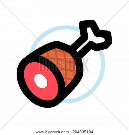 Appetizing piece of meat symbol vector icon EPS8