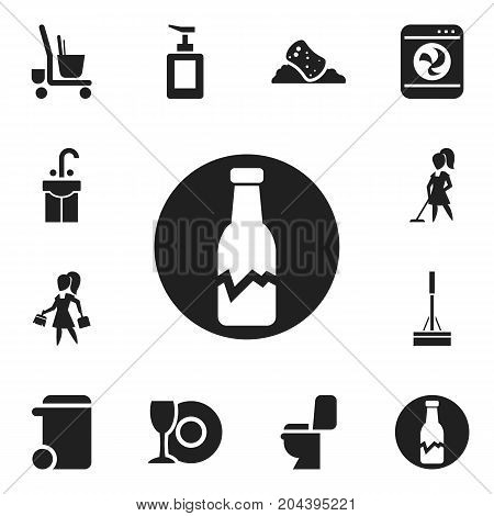 Set Of 12 Editable Cleaning Icons. Includes Symbols Such As Hand Sanitizer, Badge, Housework