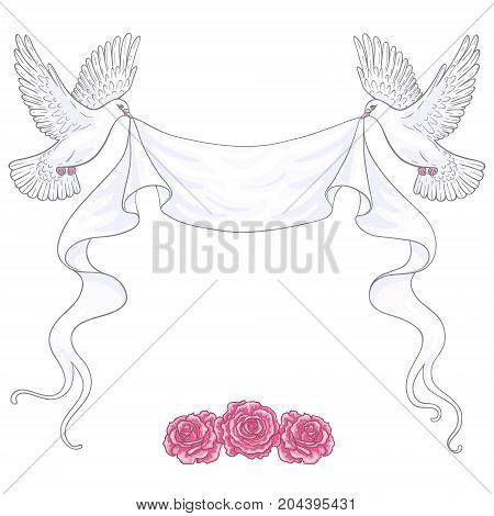 Hand drawn white flying doves with banner ribbon and pink roses isolated on blank background. Contoured image. Space for text. Vector holiday decoration element.