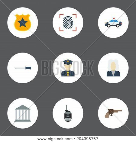 Flat Icons Automobile, Revolver, Officer Emblem And Other Vector Elements