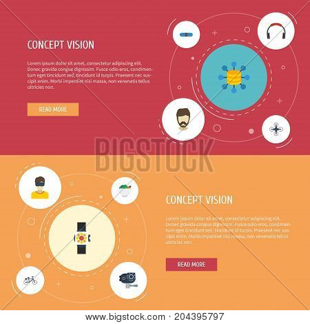 Flat Icons Bicycle, Quadcopter, Virtual Reality And Other Vector Elements
