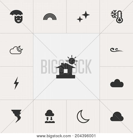 Set Of 13 Editable Air Icons. Includes Symbols Such As Evaporation Condensation, Sky, Half Moon And More