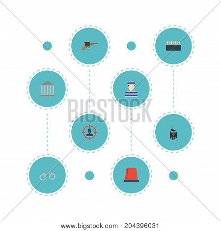 Flat Icons Prisoner, Suspicious, Building And Other Vector Elements