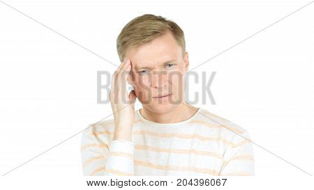 Worried Young Businessman Thinking About His Project And Problems
