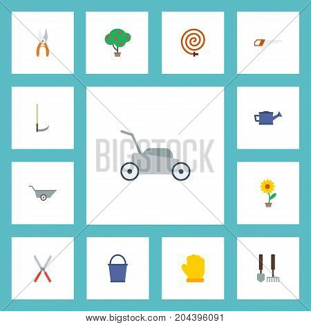 Flat Icons Cutter, Watering Can, Wheelbarrow And Other Vector Elements